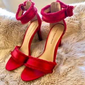 Holiday Red Satin Frayed Ankle Strap Heels